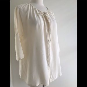 Calypso St Barth ivory silk top blouse tunic sz M